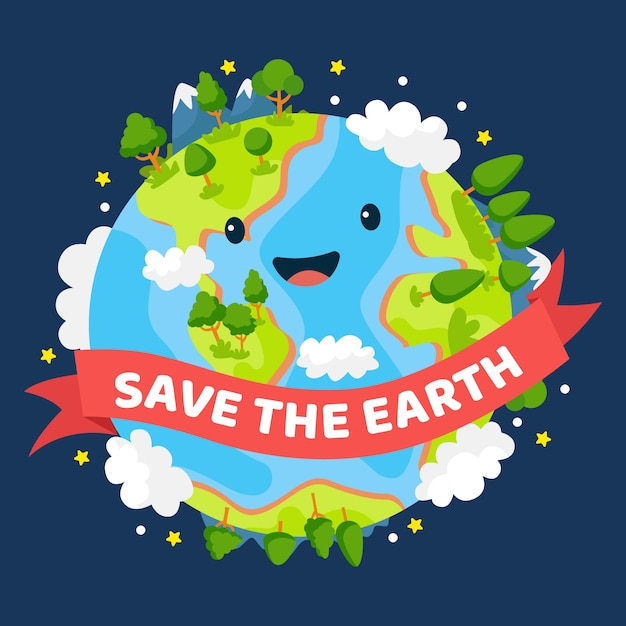 Save the planet smiley green earth Premium Vector