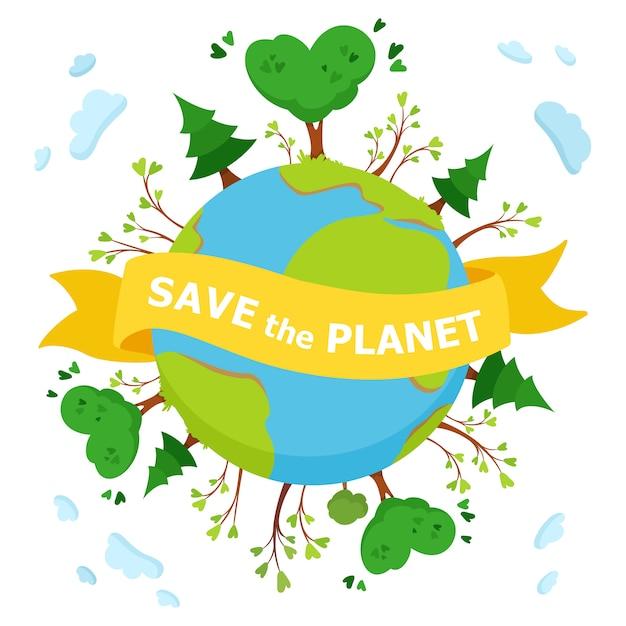 Save the planet Premium Vector