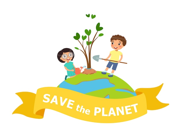 Save the planet Premium Vector