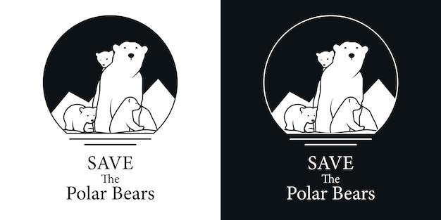 Save polar bear logo Premium Vector
