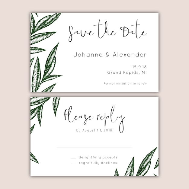 save the date and rsvp cards set vector free download