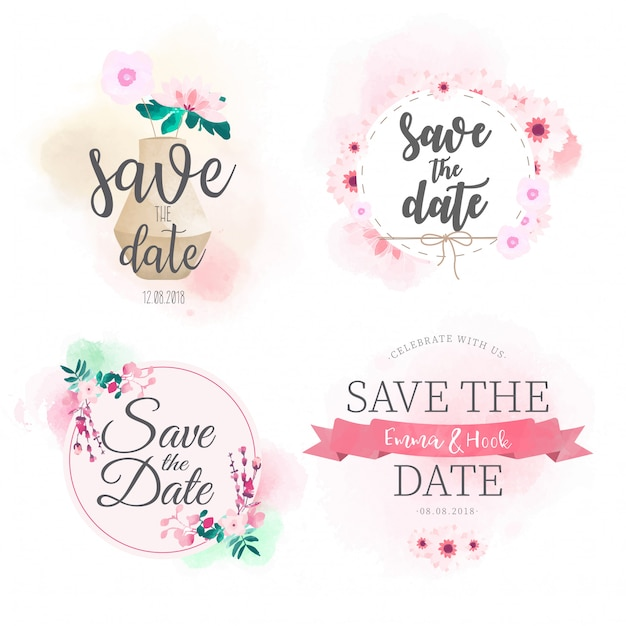 Save the date badge watercolor collection Free Vector