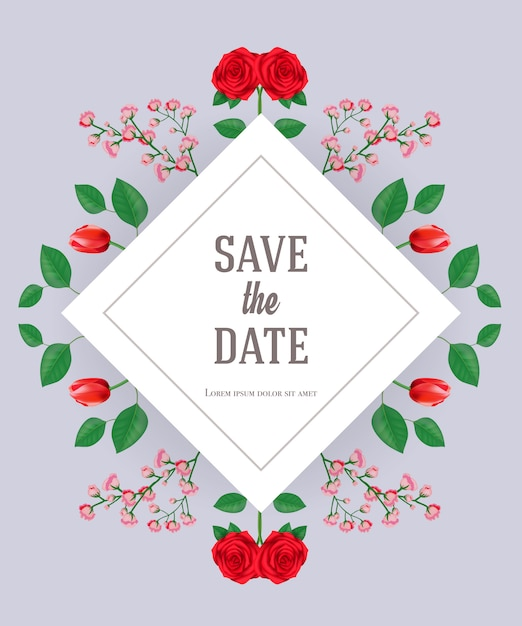 Save the date card template with flowers and leaves on gray ...