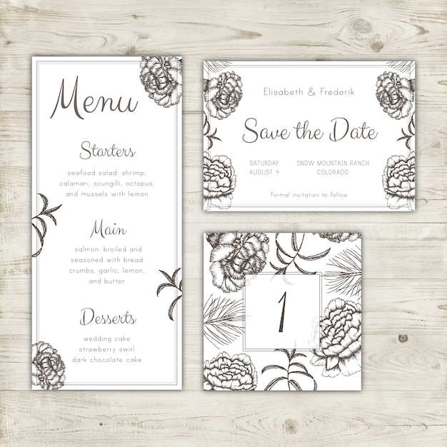 Save the date card, wedding menu and table number design