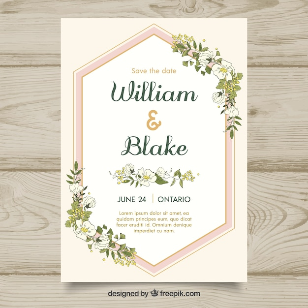 Save the date card with beautiful flowers Free Vector