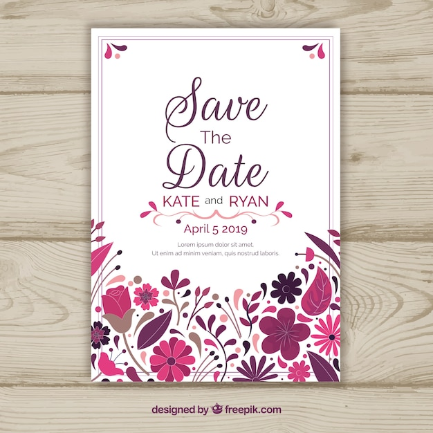 save the date card with floral ornaments vector free download