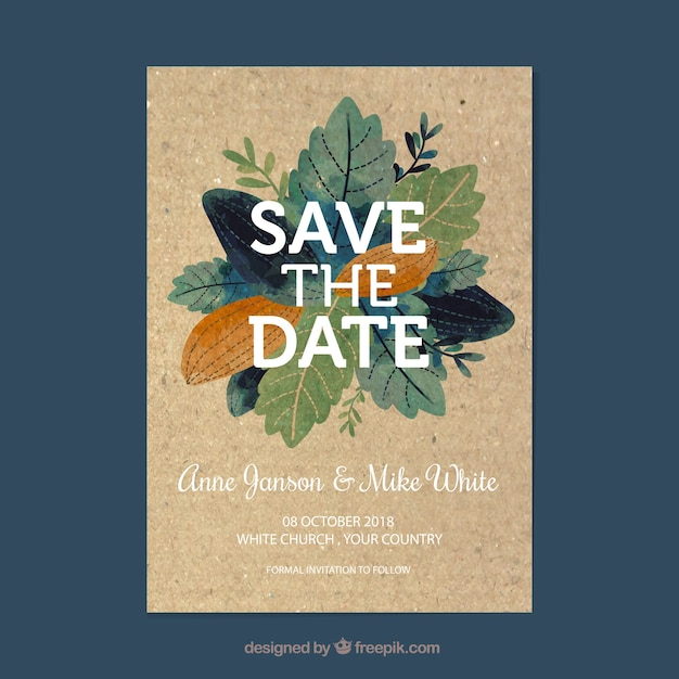 save the date card with flowers and ornaments vector free download