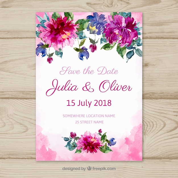 Save the date card with flowers in watercolor style Free Vector