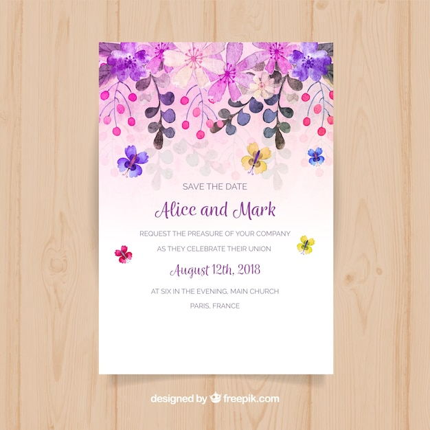 Save the date card with watercolor flowers Free Vector