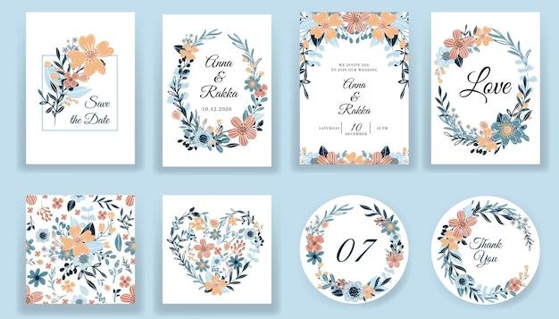 날짜 꽃 손으로 그린 카드 및 초대장 컬렉션 저장 무료 벡터
