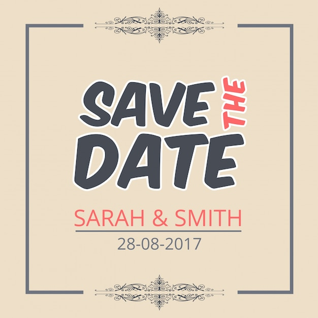 Save the date template with creative lettering vector free download save the date template with creative lettering free vector maxwellsz