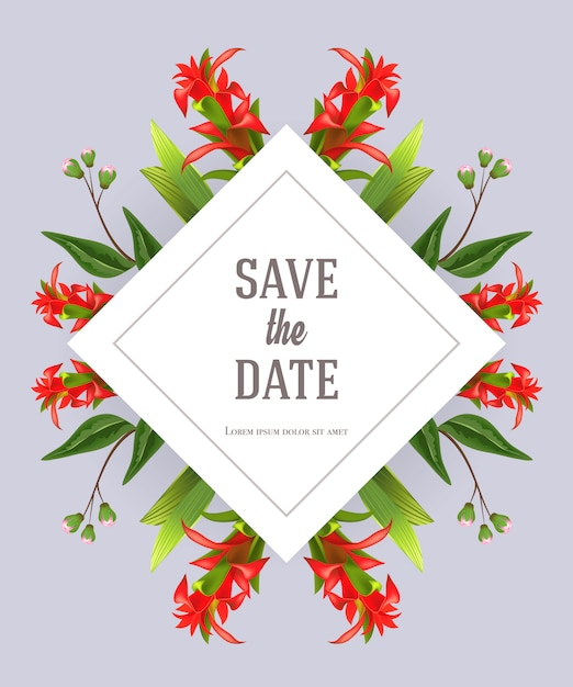 save the date template with red gladiolus on gray background
