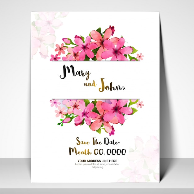 Download Pink Flower Wedding Vector Invitation Flowers: Save The Date, Wedding Invitation Card With Pink Flowers