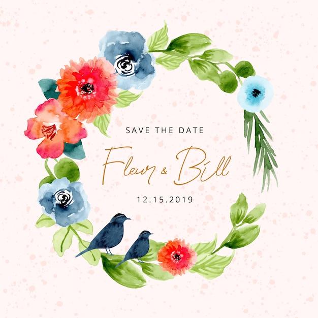 Сохранить дату с прекрасным акварельным цветочным венком Premium векторы