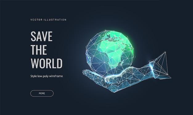 Концепция сохранения земли. планета земля в человеческой руке Premium векторы