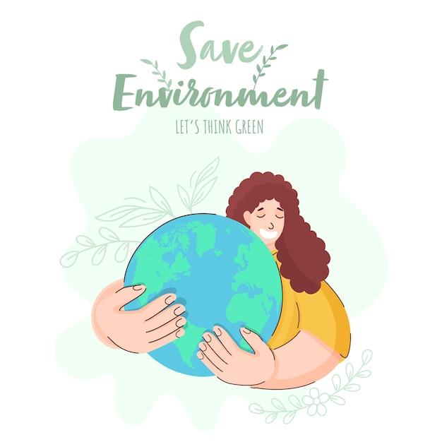 環境コンセプトのイラストを保存する Premiumベクター