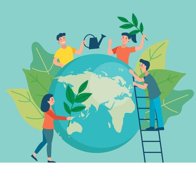 Сохранить планету, листья и восстановить Бесплатные векторы