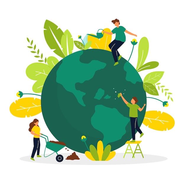 지구를 돌보는 사람들과 행성 개념을 저장 무료 벡터
