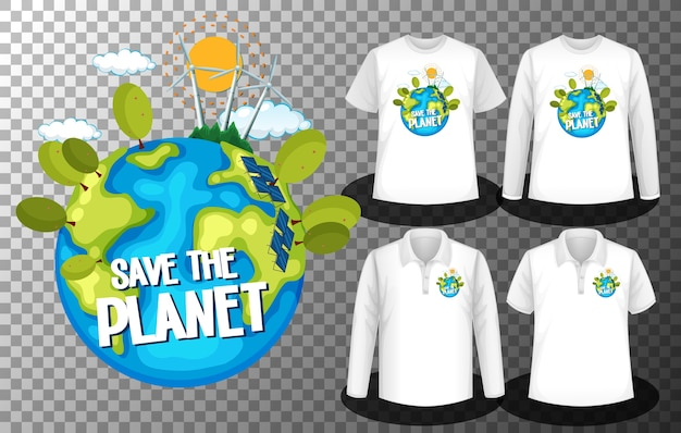 シャツにplanetdayロゴ画面を保存してさまざまなシャツのセットでplanetdayロゴを保存 無料ベクター