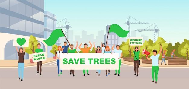Save trees social protest flat vector illustration Premium Vector