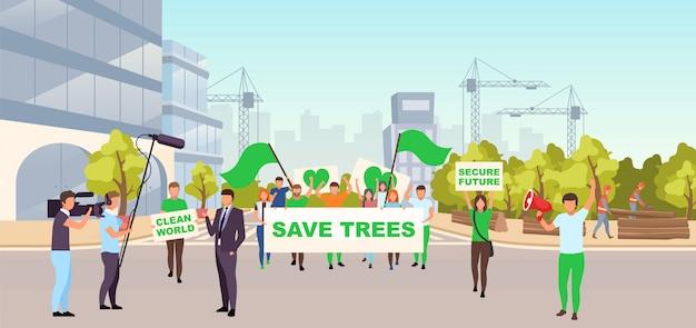 Сохраните деревья социальной иллюстрации протеста. экологическое движение, концепция охраны окружающей среды. протестующие с плакатами на улице протестуют против незаконного строительства, вырубки лесов Premium векторы