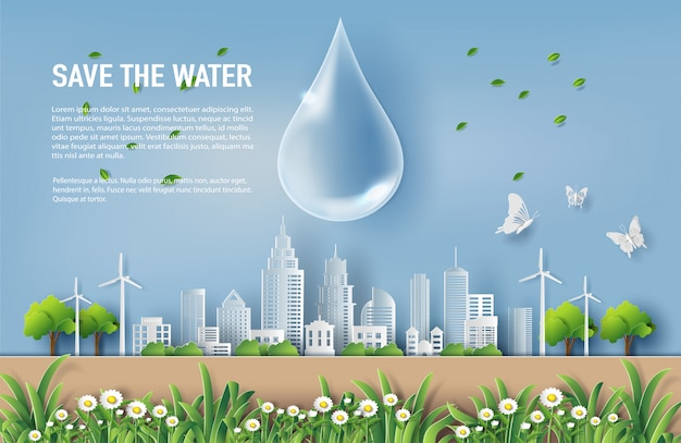 Save the water concept with landscape of the city. Premium Vector