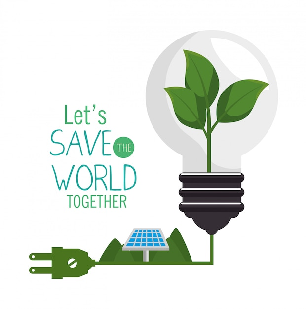 Save the world design in flat style Free Vector