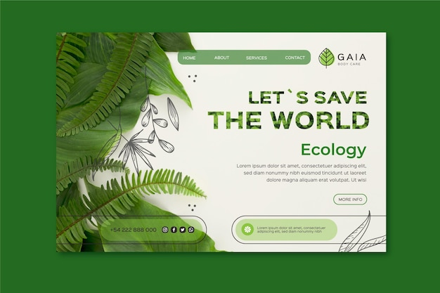 Save the world environment landing page template Premium Vector