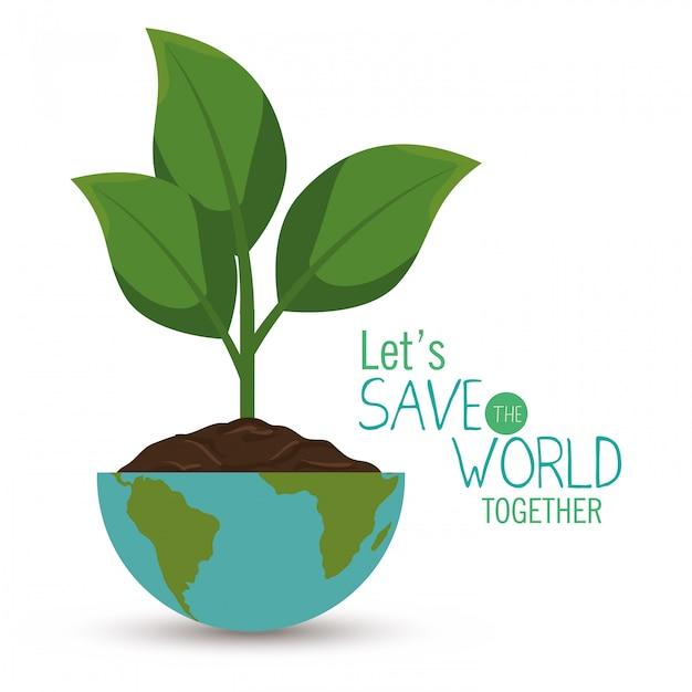 Save the world illustration Free Vector
