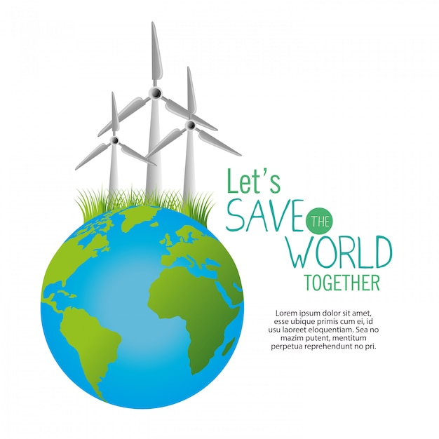 Save the world template Free Vector