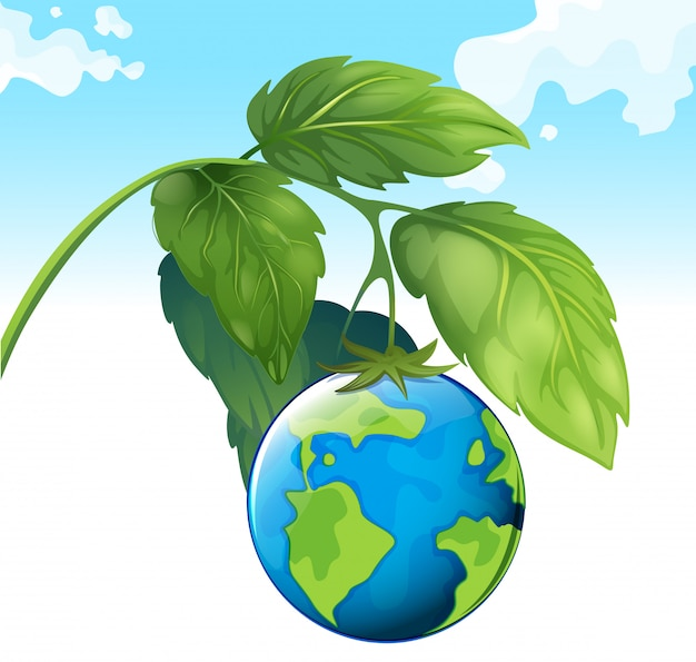 Salva il tema del mondo con terra e pianta Vettore gratuito