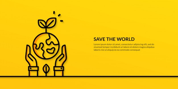 Save the world  with hands holding earth, flat nature ecology  banner Premium Vector