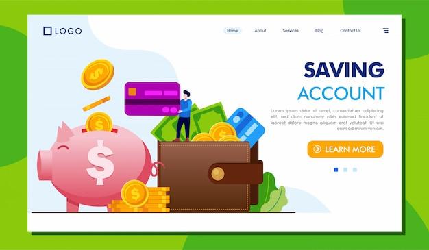 Saving account landing page website illustraton Premium Vector