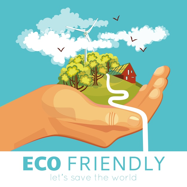Saving of environment poster Free Vector