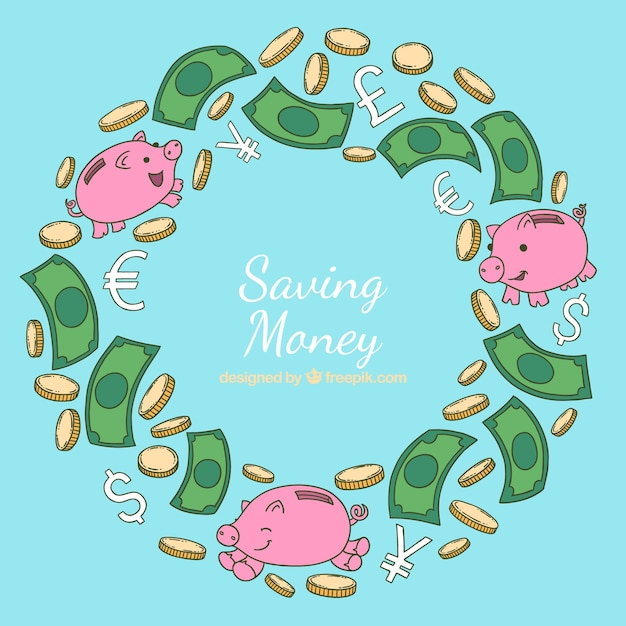 Saving money background with cute\ piggybanks