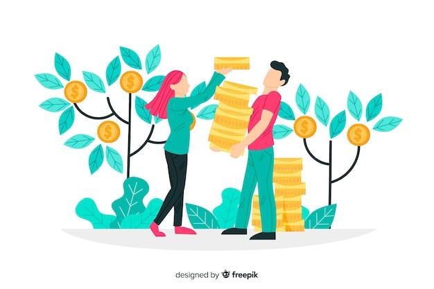 Saving money concept background Free Vector