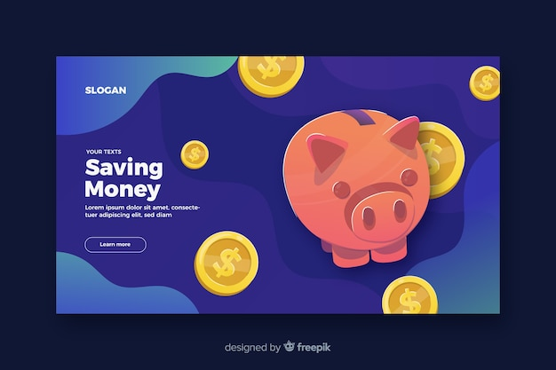 Saving money landing page Free Vector