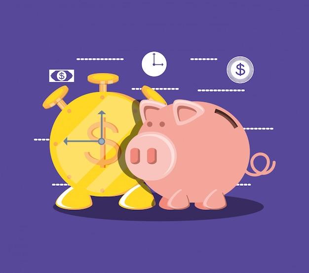 Saving piggy and coin alarm clock Premium Vector