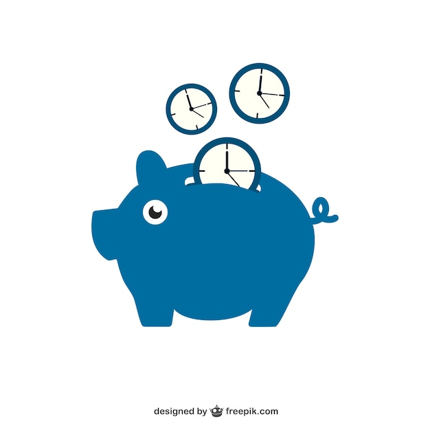 Saving time with piggy bank Free Vector