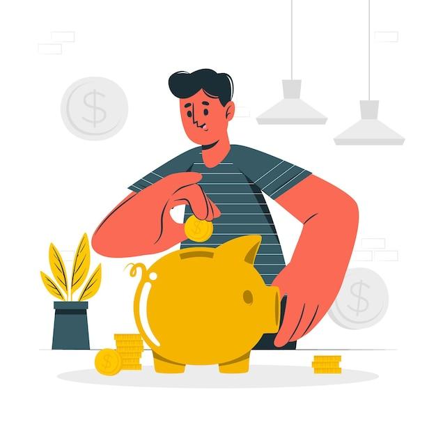 Иллюстрация концепции экономии Бесплатные векторы