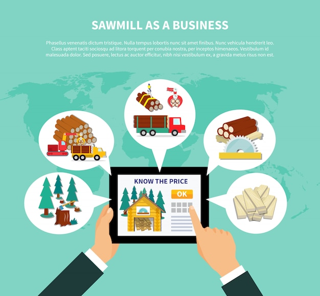 Sawmill as a business composition Free Vector