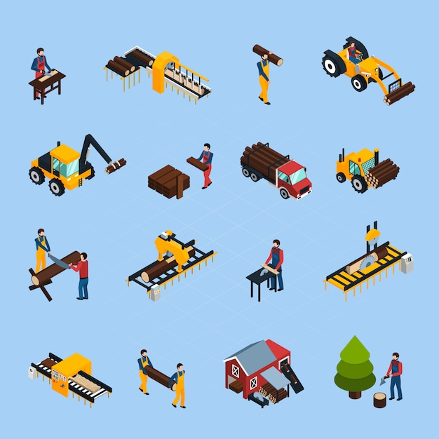 Sawmill isometric icons set Free Vector