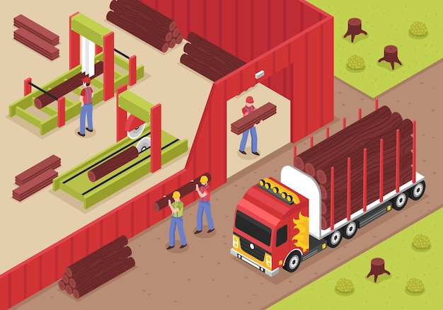 Sawmill isometric  with male workers unloading logs from truck for cutting and woodworking Free Vector