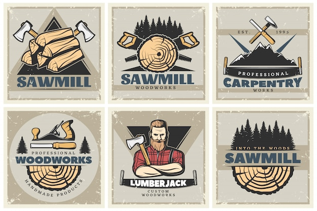 Sawmill small posters set Free Vector