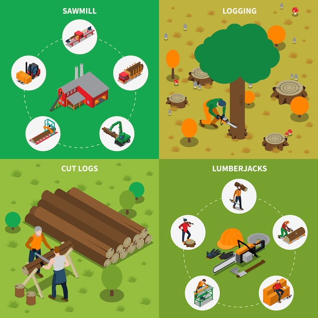 Sawmill timber mill lumberjack isometric composition Free Vector