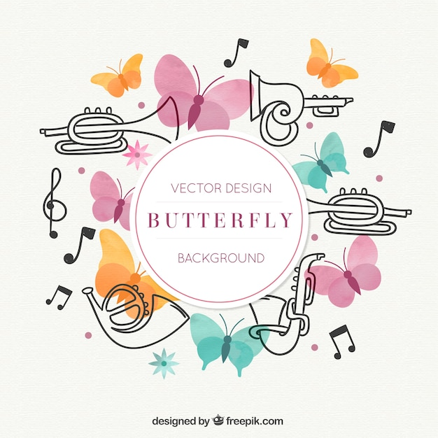 Saxophone, butterflies and music notes Free Vector