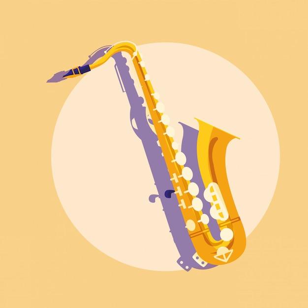 Saxophone classical instrument Premium Vector