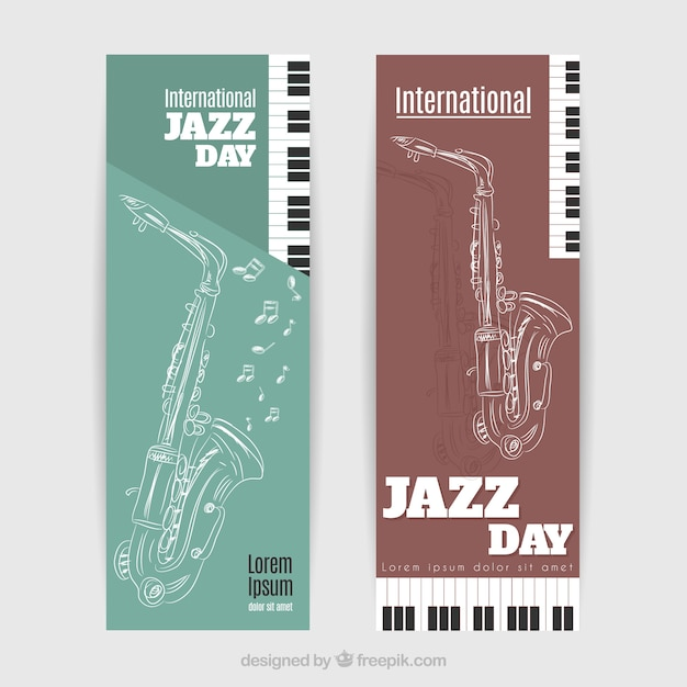 Saxophone sketch banners for international jazz day Free Vector
