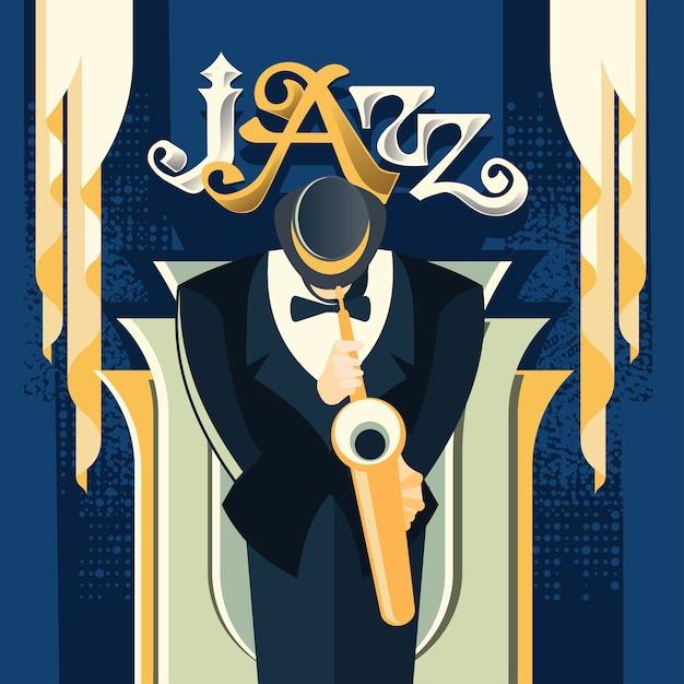Saxophonist play saxophone for jazz music Premium Vector