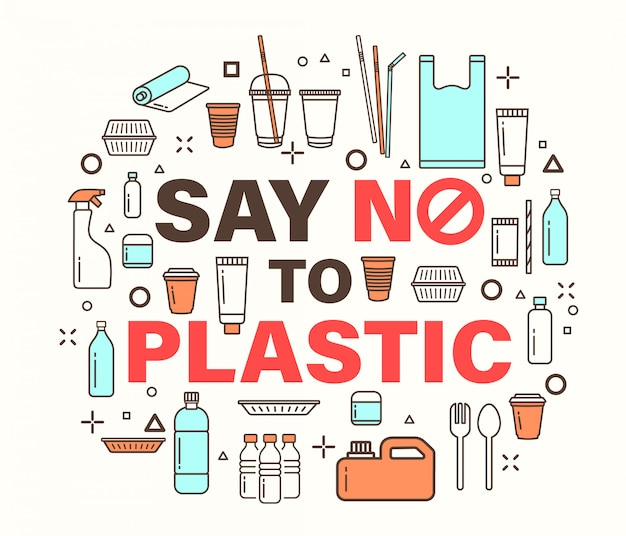 Say no to plastic illustration. Premium Vector
